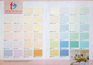 Bảng màu sơn nội thất cao cấp Joton FA