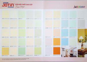 Bảng màu sơn nội thất cao cấp Joton Jotin